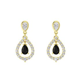 Pear Black Onyx 14K Yellow Gold Earrings with White Sapphire
