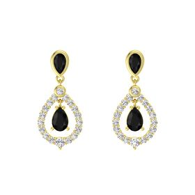 Pear Black Onyx 14K Yellow Gold Earring with Black Onyx and White Sapphire
