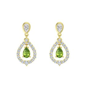 Pear Peridot 14K Yellow Gold Earring with White Sapphire and Diamond