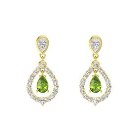 Pear Peridot 14K Yellow Gold Earring with White Sapphire