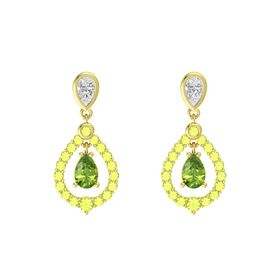Pear Peridot 14K Yellow Gold Earrings with White Sapphire & Peridot