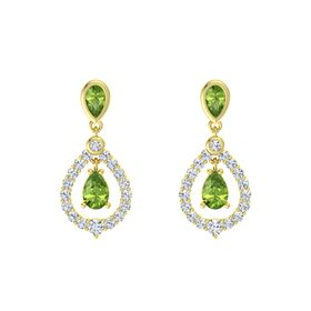 Pear Peridot 14K Yellow Gold Earring with Peridot and Diamond