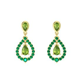 Pear Peridot 14K Yellow Gold Earrings with Peridot & Emerald