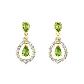 Pear Peridot 14K Yellow Gold Earring with Peridot and White Sapphire