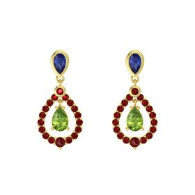Pear Peridot 14K Yellow Gold Earring with Blue Sapphire and Ruby