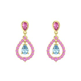 Pear Aquamarine 14K Yellow Gold Earring with Pink Sapphire