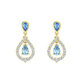 Pear Aquamarine 14K Yellow Gold Earring with Blue Topaz and Diamond