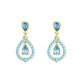Pear Aquamarine 14K Yellow Gold Earring with Blue Topaz