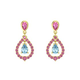 Pear Aquamarine 14K Yellow Gold Earring with Pink Tourmaline