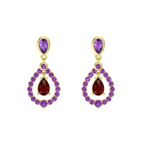 Pear Ruby 14K Yellow Gold Earring with Amethyst