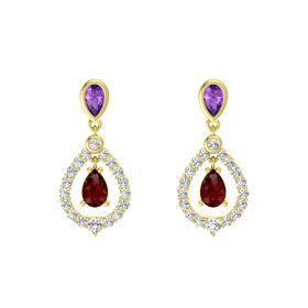 Pear Ruby 14K Yellow Gold Earring with Amethyst and White Sapphire