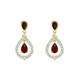 Pear Ruby 14K Yellow Gold Earring with Red Garnet and Diamond