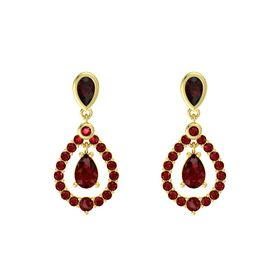 Pear Ruby 14K Yellow Gold Earrings with Red Garnet & Ruby