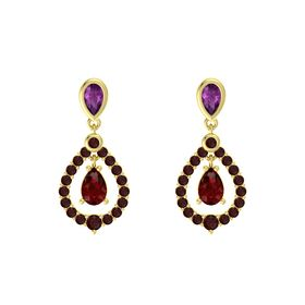 Pear Ruby 14K Yellow Gold Earring with Rhodolite Garnet and Red Garnet
