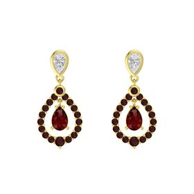Pear Ruby 14K Yellow Gold Earring with White Sapphire and Red Garnet
