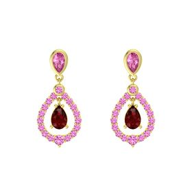 Pear Ruby 14K Yellow Gold Earring with Pink Sapphire