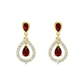Pear Ruby 14K Yellow Gold Earrings with Ruby & White Sapphire