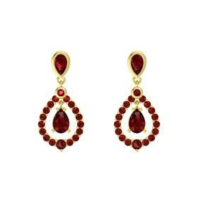 Pear Ruby 14K Yellow Gold Earring with Ruby