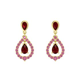 Pear Ruby 14K Yellow Gold Earrings with Ruby & Pink Tourmaline