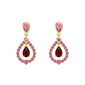 Pear Ruby 14K Yellow Gold Earring with Pink Tourmaline