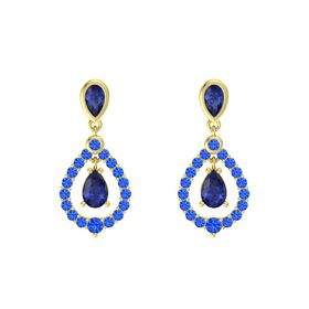 Pear Blue Sapphire 14K Yellow Gold Earring with Blue Sapphire