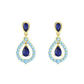 Pear Blue Sapphire 14K Yellow Gold Earring with Blue Sapphire and Blue Topaz