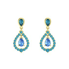 Pear Blue Topaz 14K Yellow Gold Earring with London Blue Topaz