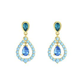 Pear Blue Topaz 14K Yellow Gold Earring with London Blue Topaz and Blue Topaz