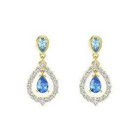 Pear Blue Topaz 14K Yellow Gold Earring with Aquamarine and Diamond