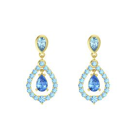Pear Blue Topaz 14K Yellow Gold Earring with Aquamarine and Blue Topaz