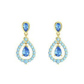 Pear Blue Topaz 14K Yellow Gold Earrings with Blue Topaz