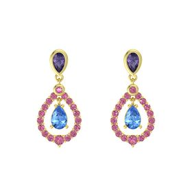 Pear Blue Topaz 14K Yellow Gold Earring with Iolite and Pink Tourmaline