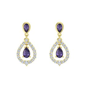 Pear Iolite 14K Yellow Gold Earring with Iolite and Diamond