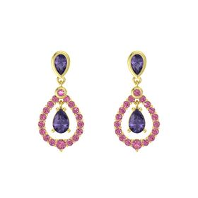 Pear Iolite 14K Yellow Gold Earrings with Iolite & Pink Tourmaline