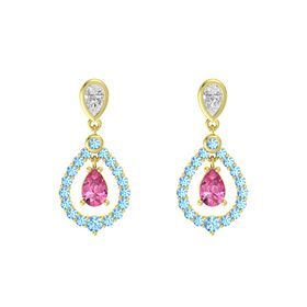 Pear Pink Tourmaline 14K Yellow Gold Earring with White Sapphire and Blue Topaz