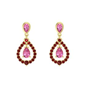 Pear Pink Tourmaline 14K Yellow Gold Earring with Pink Tourmaline and Ruby