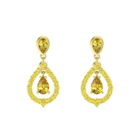 Pear Yellow Sapphire 14K Yellow Gold Earring with Yellow Sapphire