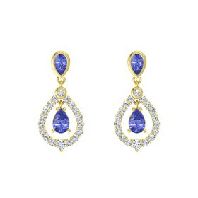 Pear Tanzanite 14K Yellow Gold Earrings with Tanzanite & Diamond