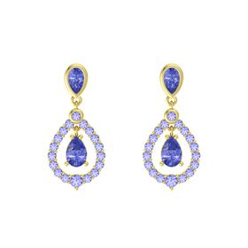 Pear Tanzanite 14K Yellow Gold Earring with Tanzanite