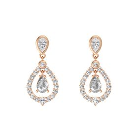 Pear Rock Crystal 18K Rose Gold Earring with White Sapphire