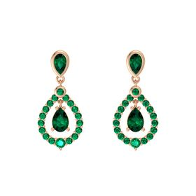Pear Emerald 18K Rose Gold Earring with Emerald