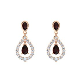 Pear Red Garnet 18K Rose Gold Earring with Red Garnet and Diamond
