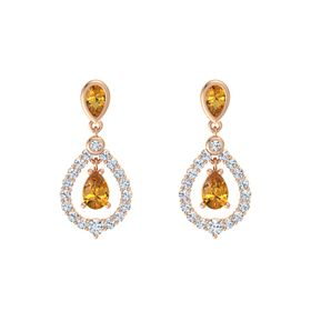 Pear Citrine 18K Rose Gold Earring with Citrine and Diamond