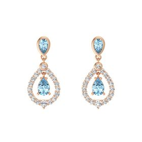 Pear Aquamarine 18K Rose Gold Earring with Aquamarine and White Sapphire