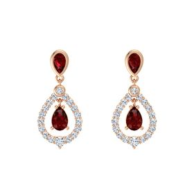 Pear Ruby 18K Rose Gold Earring with Ruby and Diamond