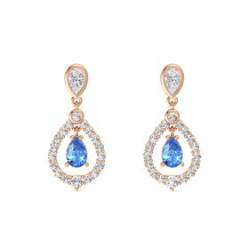 Pear Blue Topaz 18K Rose Gold Earring with White Sapphire