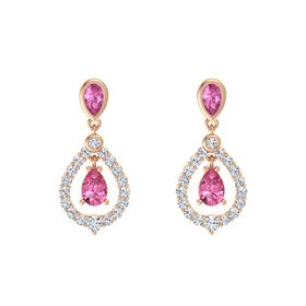 Pear Pink Tourmaline 18K Rose Gold Earring with Pink Sapphire and Diamond