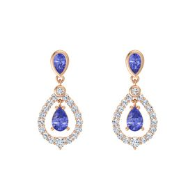 Pear Tanzanite 18K Rose Gold Earring with Tanzanite and Diamond