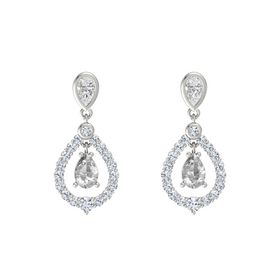 Pear Rock Crystal 18K White Gold Earrings with White Sapphire & Diamond