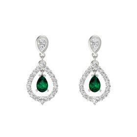 Pear Emerald 18K White Gold Earring with White Sapphire